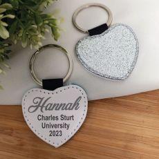 Graduation Silver Glittered Leather Heart Keyring
