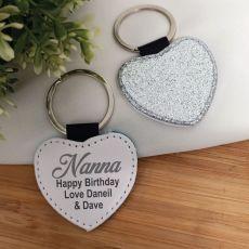 Nana Silver Glittered Leather Heart Keyring