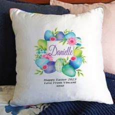 Personalised Easter Cushion Cover - Blue Eggs