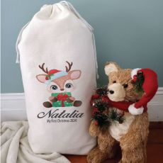 Personalised Christmas Sack 80cm  - Baby Deer