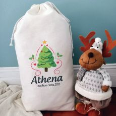 Personalised Christmas Sack 80cm  - Heart Tree