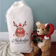 Personalised Christmas Sack 80cm  - Reindeer