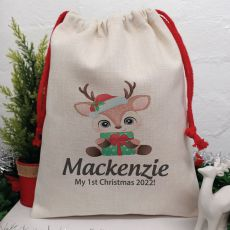 Personalised Christmas Sack 40cm  - Baby Deer