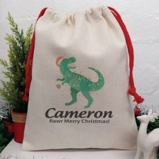 Personalised Christmas Sack 40cm  - Dinosaur