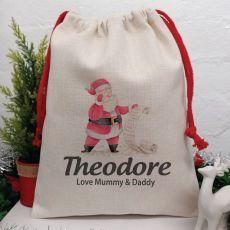Personalised Christmas Sack 40cm  - Santas List