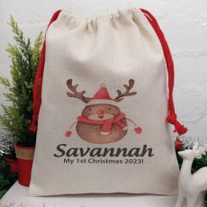 Personalised Christmas Sack 40cm  - Reindeer