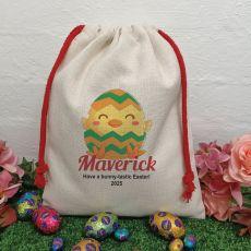 Personalised Easter Sack Hunt Bag 40cm  - Chicken Egg