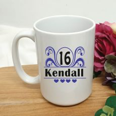16th Birthday Personalised Coffee Mug - Swirl 15oz