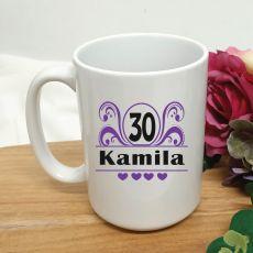 30th Birthday Personalised Coffee Mug - Swirl 15oz