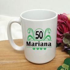 50th Birthday Personalised Coffee Mug - Swirl 15oz