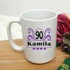 90th Birthday Personalised Coffee Mug - Swirl 15oz