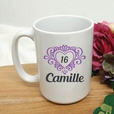 16th Birthday Personalised Coffee Mug Filigree Heart 15oz