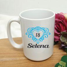 18th Birthday Personalised Coffee Mug Filigree Heart 15oz