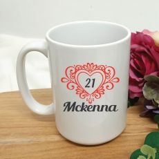 21st Birthday Personalised Coffee Mug Filigree Heart 15oz