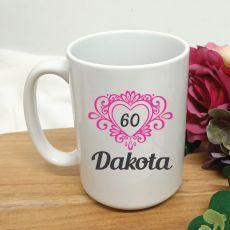60th Birthday Personalised Coffee Mug Filigree Heart 15oz