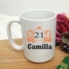 Personalised 21st Birthday Princess Coffee Mug 15oz