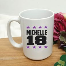 Personalised 18th Birthday Coffee Mug 15oz Star