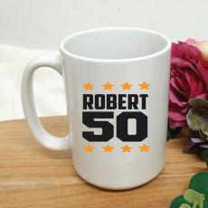 Personalised 50th Birthday Coffee Mug 15oz Star