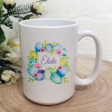 Personalised Easter Coffee Mug - Blue Eggs