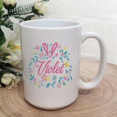 Personalised Easter Coffee Mug - Floral Bunny