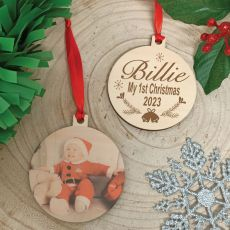 1st Christmas Photo Wooden Ornament 2020