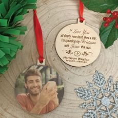 Memorial Christmas Photo Wooden Ornament - With Jesus