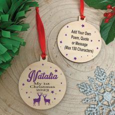 1st Christmas 2020 Wooden Ornament - Reindeer