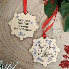 Teacher Christmas 2020 Wooden Ornament - Snowflake