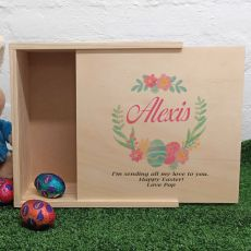 Personalised Wooden Easter Box - Floral Egg