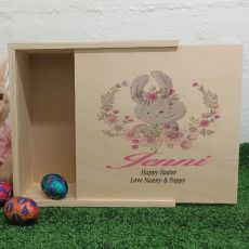 Personalised Wooden Easter Box - Floral Bunny