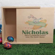 Personalised Wooden Easter Box - Plane Bunny