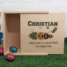Personalised Wooden Easter Box - Space Bunny