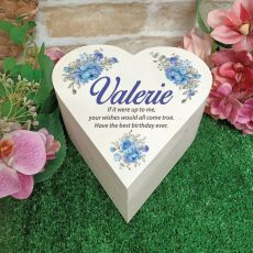 Birthday Wooden Heart Gift Box - Blue Floral