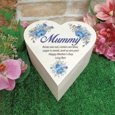 Mum Wooden Heart Gift Box - Blue Floral