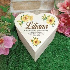 Birthday Wooden Heart Gift Box - Sunflower