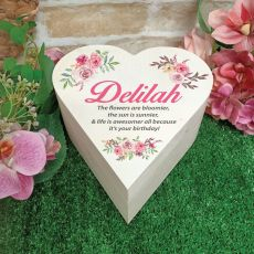 Birthday Wooden Heart Gift Box - Vintage Rose