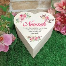 Personalised Wooden Heart Gift Box -Vintage Rose