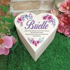 Birthday Wooden Heart Gift Box - Watercolour Floral
