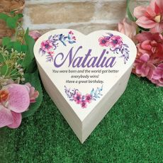 Personalised Wooden Heart Gift Box -Watercolour Floral