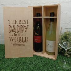 Best Dad Double Wine Bottle Pine Box