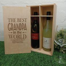 Best Grandpa Double Wine Bottle Pine Box