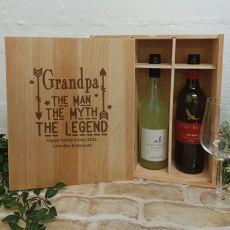 Grandpa The Legend Triple Wine Bottle Pine Box