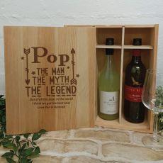Pop The Legend Triple Wine Bottle Pine Box