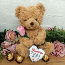 Grandma Bear with Rose and Heart Tin