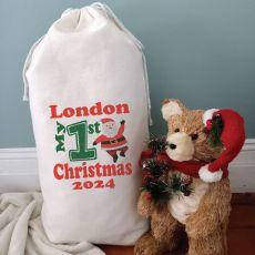 1st Christmas Personalised Sack 80cm  - Santa