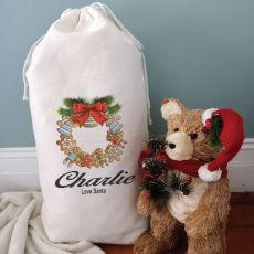 Personalised Christmas Sack 80cm  - Wreath