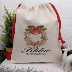 Personalised Christmas Sack 40cm  - Wreath