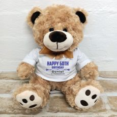 60th Birthday Teddy Bear Brown Plush - Malcolm