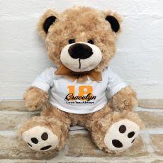 18th Birthday Number Bear Brown Plush - Malcolm