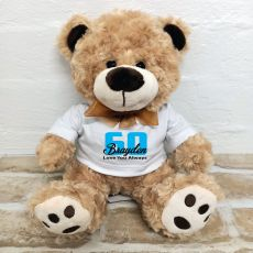 60th Birthday Number Bear Brown Plush - Malcolm
